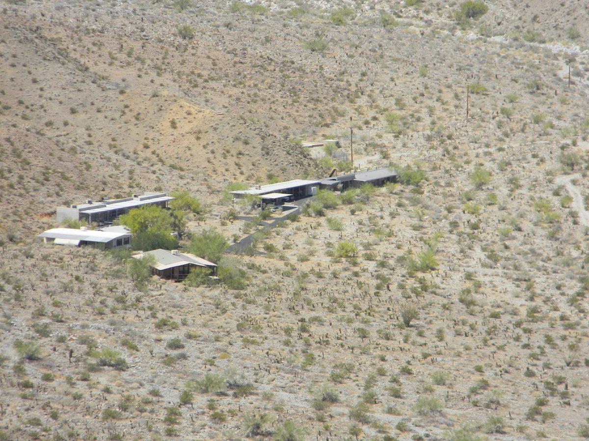 Arial photo of buildings in the desert